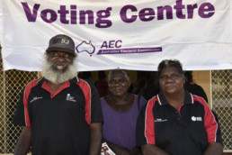 3 Indigenous people waitings to vote in the 2016 Australian federal election